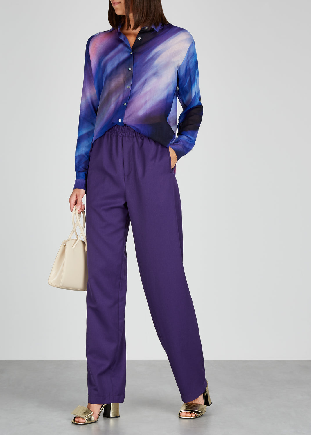 AWAYTOMARS X Woolmark purple straight-leg trousers