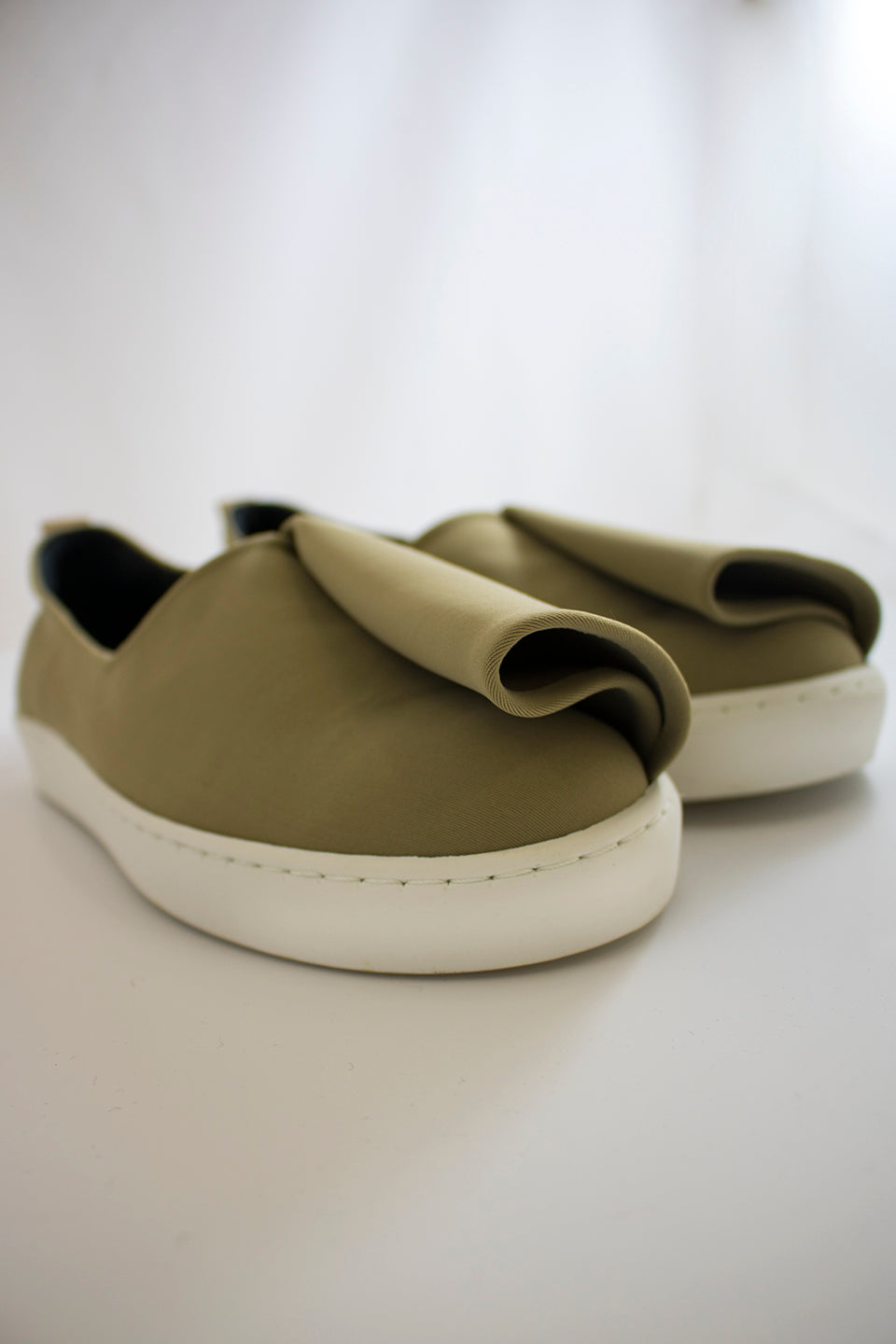 Neoprene Slash Slip-Ons (Men) - Beige
