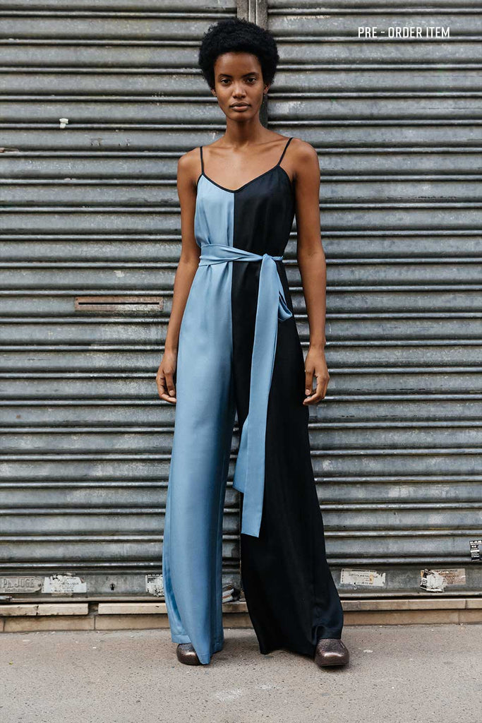 Black and Blue Silk Jumpsuit