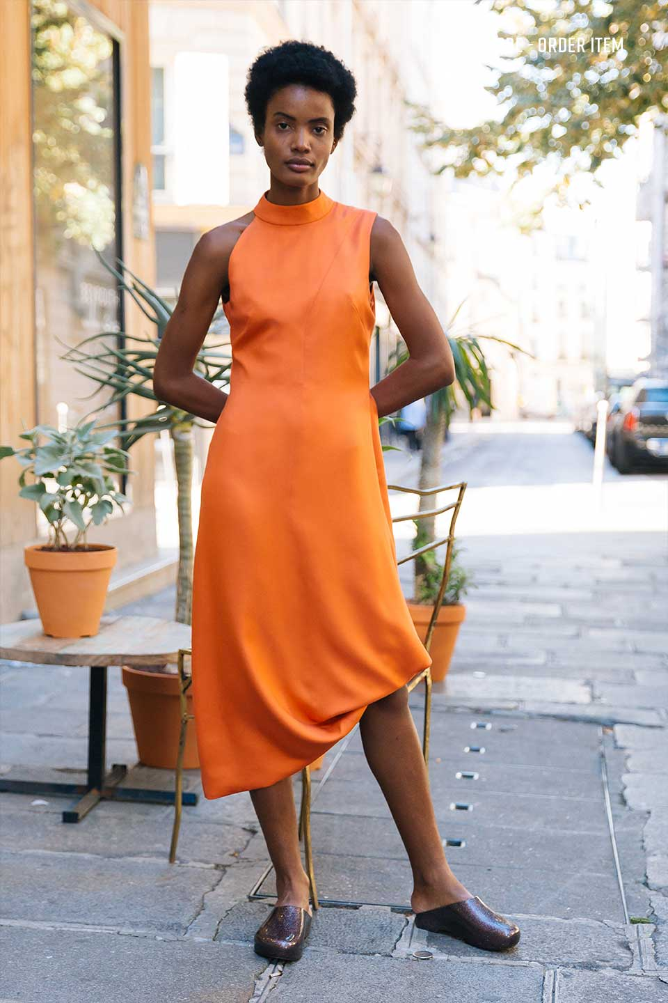 Slash Orange Silk Dress