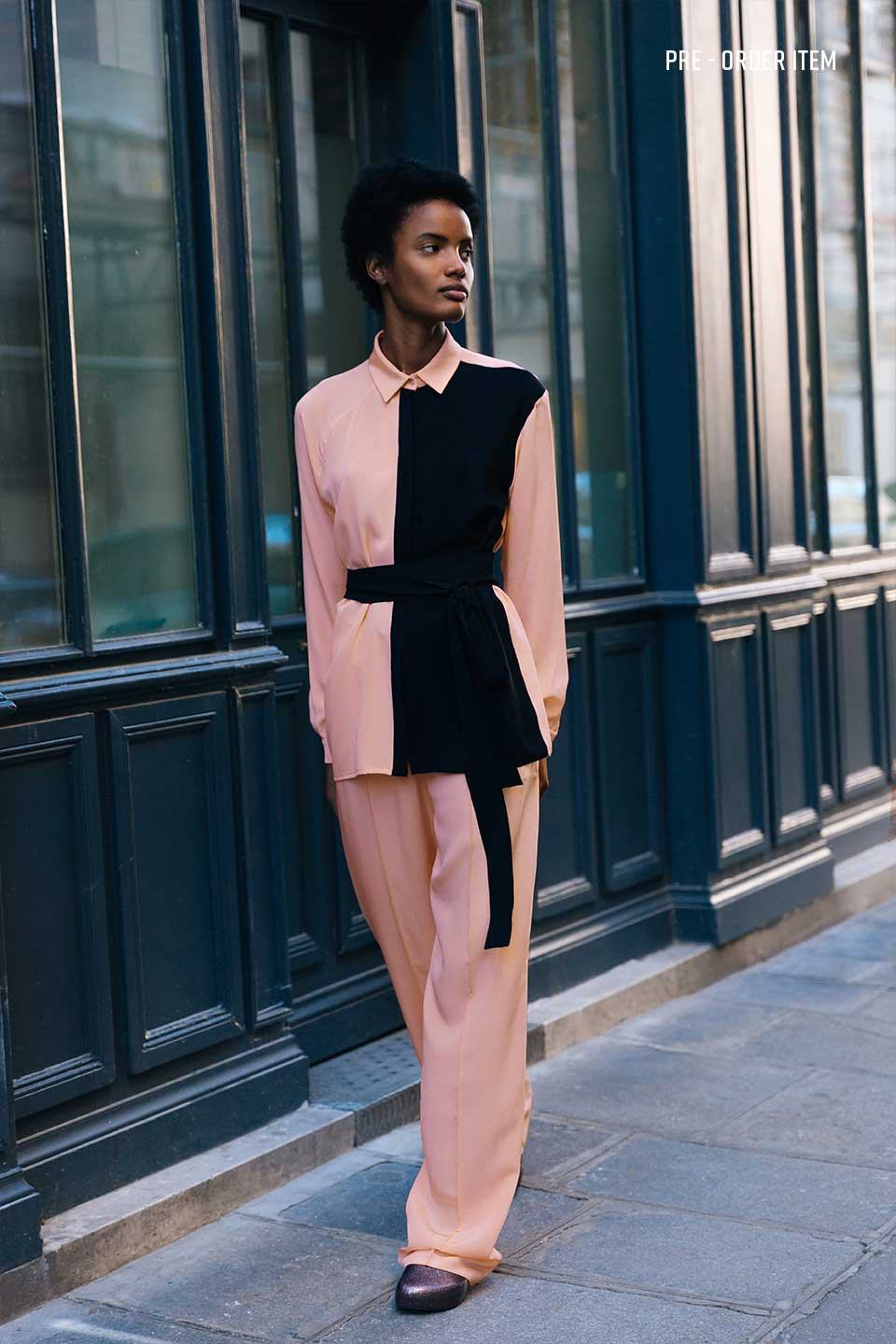 Pink and Black Silk Shirt