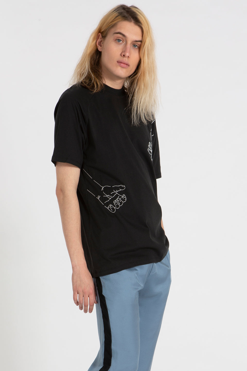 Slash t-shirt black with Mains Embroidery