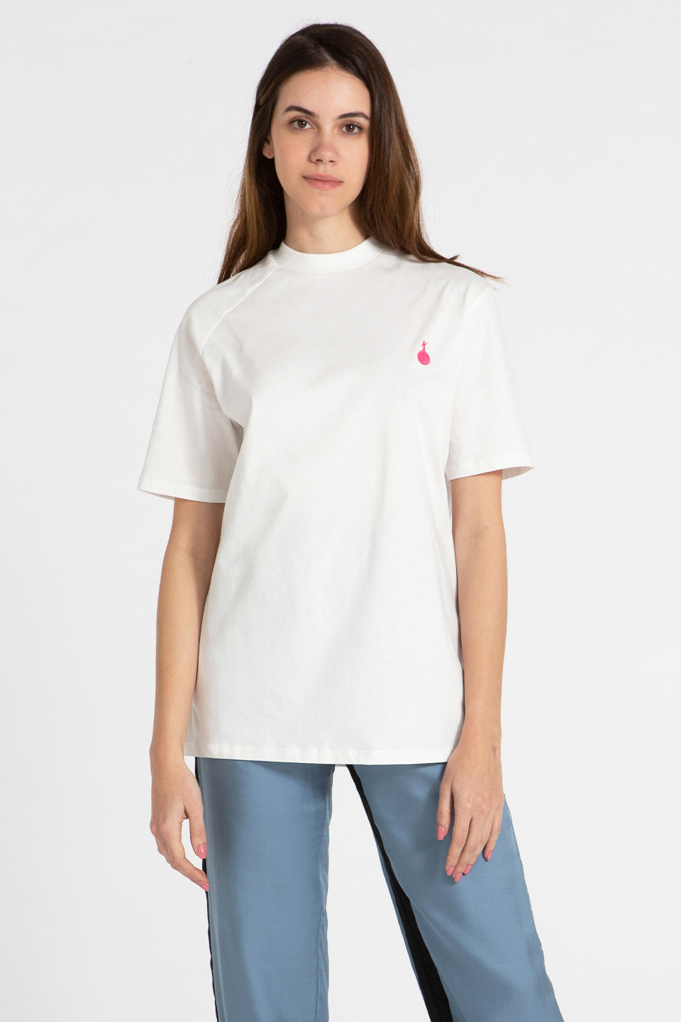 Slash T-shirt white with pink Martian