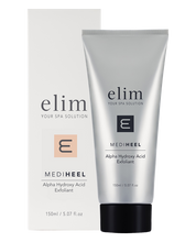 Load image into Gallery viewer, MediHeel AHA Exfoliator - AHA Foot Exfoliant forms part of the Elim MediHeel Pedicure System. A combination of Glycolic & Lactic Acids that peels & exfoliate with natural Jojoba Oil Beads and Cellulose.