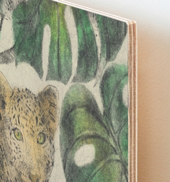 Birch Wood Art Print Jungle Jaguar