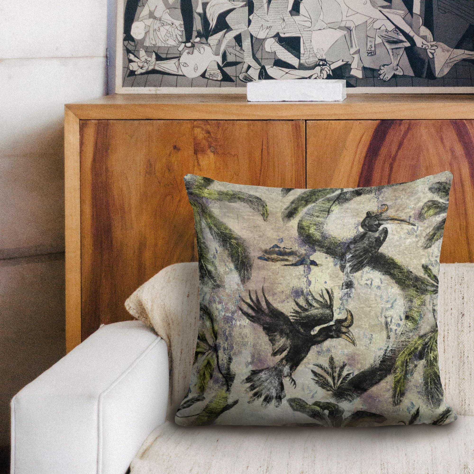 Hornbill Birds Velvet Cushion - The Patternologist