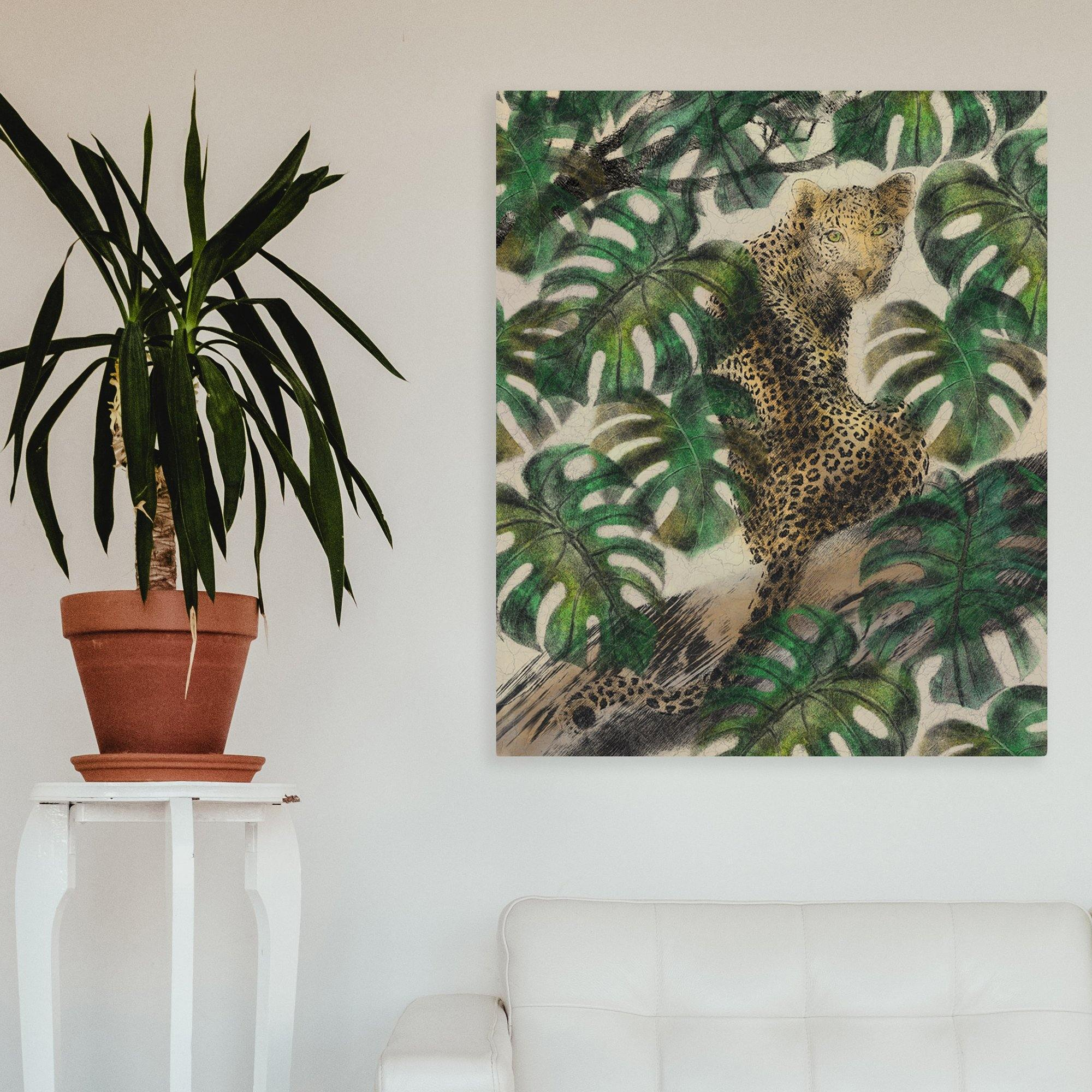 Birch Wood Art Print Jungle Jaguar - The Patternologist