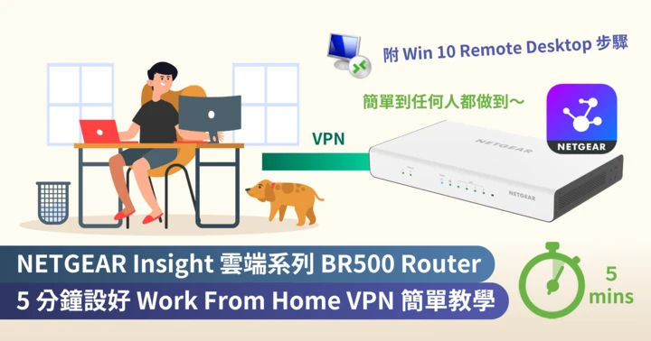 <b>NETGEAR Insight 雲端系列 BR500 Router <br>5 分鐘設好 Work From Home VPN 教學 <br>(附 Windows Remote Desktop 設定步驟)</b>