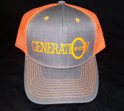 GENERATION HIP HOP ORANGE FREEDOM TRUCKER HAT. ORANGE AND GRAY HAT, TRUCKER HAT, ORANGE HAT, GRAY HAT, HIP HOP HAT, HIP HOP ACCESSORIES, HIP HOP APPAREL, HIP HOP STYLE
