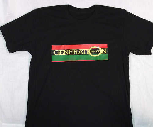 GENERATION HIP HOP MENS RED/BLACK/GREEN/GOLD SPEAKERBOX TEE.  MENS SHORT SLEEVE TEE. GENERATION HIP HOP  MENS WHITE TEE, MENS BLACK TEE, , HIP HOP CLOTHING, HIP HOP TEE, HIP HOP APPAREL.  MENS SHORT SLEEVE TEE RED/BLACK/GREEN/GOLD SPEAKERBOX