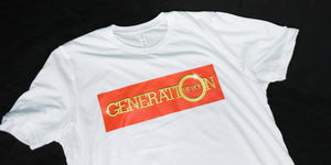 GENERATION HIP HOP MENS ORANGE/GOLD SPEAKERBOX TEE. MENS WHITE TEE, MENS BLACK TEE, ORANGE LOGO TEE, HIP HOP CLOTHING, HIP HOP TEE, HIP HOP APPAREL.