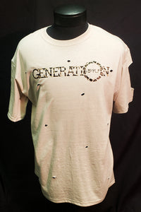 GENERATION HIP HOP MENS HOLY CHEETAH FADED GLORY TEE. CUSTOM HIP HOP TEE, CUSTOM TEE, TAN TEE, T-SHIRT WITH HOLES, CHEETAH PRINT TEE, HIP HOP CLOTHING, HIP HOP APPAREL.