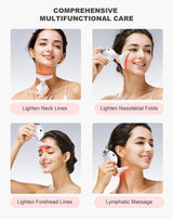 3 Colors Led Facial Neck Wrinkle Massager Led Photon Therapy Heating