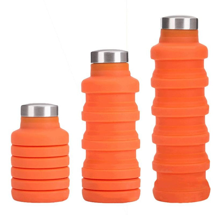 500ML Silicone Water Bottle with Stainless Steel Cover Folding Coffee Bottle Outdoor Travel Drinking Collapsible Sport Kettle