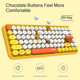 JellyComb Bluetooth Keyboard Retro Round Keycap Plastic Panel Colorful Border WaterproofMobile Phone Keyboard