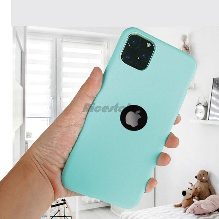 Candy Color Case For iPhone 11 Pro Max Soft Silicon Back Cover Cases For iPhone 11Pro 6 7 8 Plus X XR XS Max Case Open Logo Hole