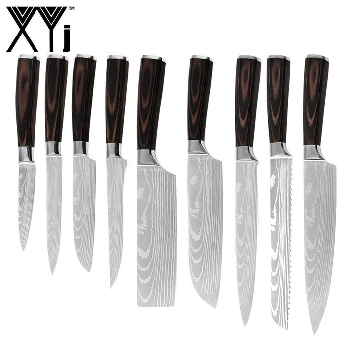 Damascus Pattern Blade Kitchen Knives Set 7cr17 Stainless Steel - OZ Discount Store