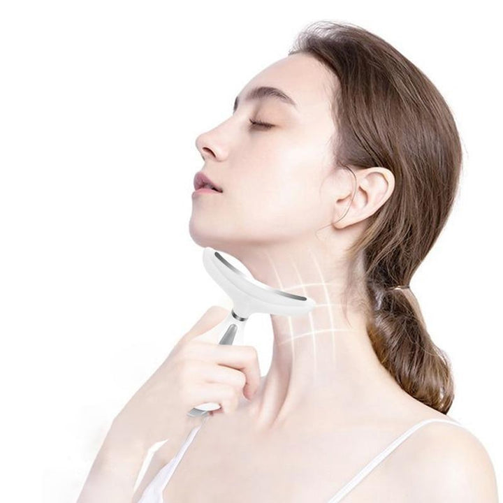 3 Colors Led Facial Neck Wrinkle Massager Led Photon Therapy Heating (White)