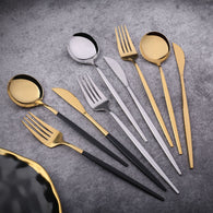 24Pcs 18/10 Stainless Steel Dinnerware Set Black Gold Cutlery
