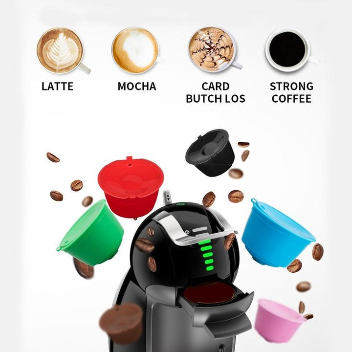 5 Pcs Reusable Coffee Capsule Filter Cup Refillable Caps Spoon Filter Baskets Pod Soft Taste Sweet