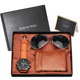 Quartz Watches Clock Sunglasses Card Case/wallet Man Gifts with Box