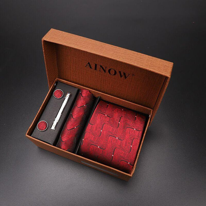 Luxury tie set gift box for men jacquard necktie and pocket square clip