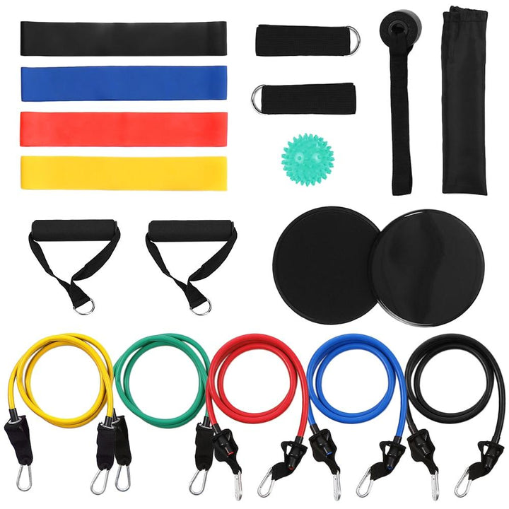 Fintess Equipment 11pcs Resistance Bands Set Workout Exercise Tube Bands Door Ankle Straps Cushioned Handles Sport Home Gym