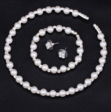 Jewelry Set Pearl Party Prom Gift Crystal Bracelet Necklace Earrings for Women