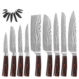 XYj Stainless Steel Chef Knives Set Damascus Pattern Blade Wood Handle
