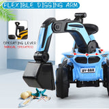Children Digger Model Excavator Toy with Music & Light Ride On Toys