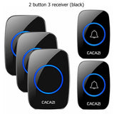 CACAZI Wireless Waterproof Doorbell 300m Range US EU UK AU Plug Home Intelligent Door Bell Chime 1 2 Button 1 2 3 Receiver