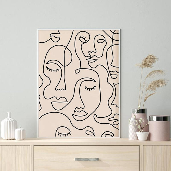 Single Line Face Drawing Wall Art Canvas Painting