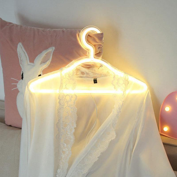 LED Neon Light Sign Clothes Stand USB Powered Hanger Night Lamp for Bedroom