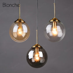 Nordic Glass Ball Pendant Lights Modern Gold Hang Lamp Home Loft Decor Light