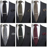 Hand Made Tie Cashmere Multicolor Solid Neck Tie & Pocket Square Gift Box Set