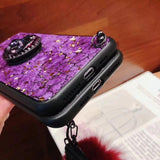 Hair Ball+Crystal Bracket+Strap Phone Case For all Samsung & all Iphone