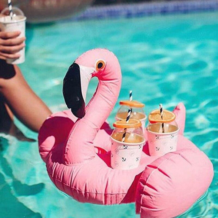 Ice Bucket Flamingo Cup Holder Inflatable Pool Float Cooler Table Drink Food Tray Party Toys Boia Piscina Swimming Mattress (white)