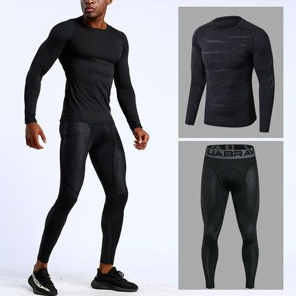 Compression Training Pants Men Running Fitness sets Tights Gym clothes
