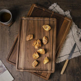 Black walnut round pizza chopping board with handle