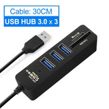 USB 3.0 Hub USB Splitter High Speed 3 6 Ports 2.0 Hab TF SD Card Reader All In One For PC Computer Accessories - OZ Discount Store