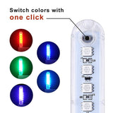 LED USB Mini 8LEDs Colorful Atmosphere Lamps Key Switch