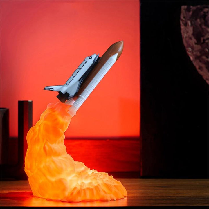 3D Print LED Night Light Space Shuttle Rocket Bedroom Table Decoration Lamp