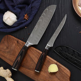Damascus Pattern Blade Kitchen Knives Set 7cr17 Stainless Steel