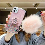 Hair Ball+Crystal Bracket+Strap Phone Case For all Samsung & all Iphone - OZ Discount Store