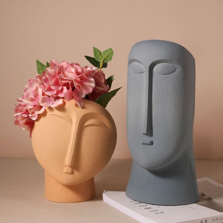 Nordic Ins Minimalist Ceramic Abstract Vase Black and White Human Face Creative Display Room Decorative Figue Head Shape Vase