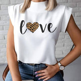 Women Elegant Lips Print blouse shirts 2020 Summer Casual Stand Neck Pullovers tops Ladies Fashion cute Eye Short Sleeve Blusa - OZ Discount Store