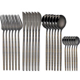 24Pcs 18/10 Stainless Steel Dinnerware Set Black Gold Cutlery - OZ Discount Store