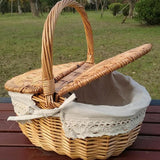 Handle Wicker Camping Picnic Basket with Double Lids Storage