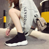 Mesh Breathable Knit High Top Sneakers Women Casual Shoes