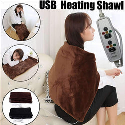 Portable Electric Heating Shawl Autumn Winter USB Soft Heated Shawl